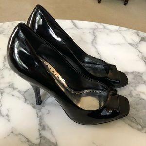 BCBG Generation Black Leather Heels Shoes 8.5